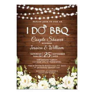 Wood & White Roses Floral I Do BBQ Couple Shower Invitation