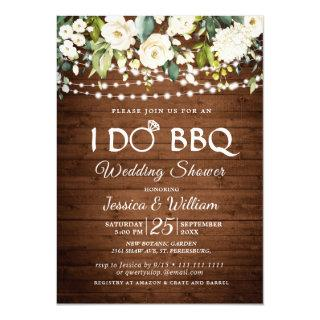 Wood & White Roses Floral I Do BBQ Wedding Shower Invitation