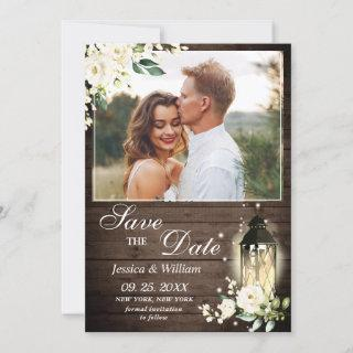 Wood  White Roses Rustic Photo Wedding Save The Date