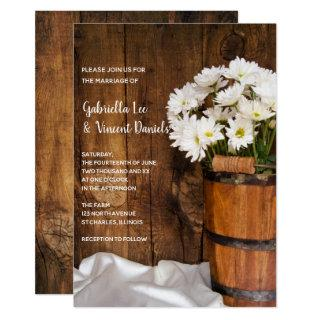 Wooden Bucket and White Daisies Barn Wedding Invitations
