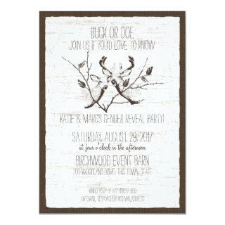 Woodland Deer and Birch Gender Reveal Invitations