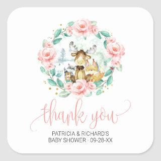 Woodland Floral Greenery Baby Shower Thank You Square Sticker
