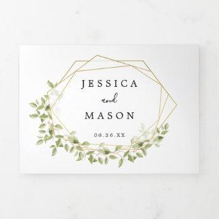 Woodland Greenery Wedding Tri-Fold Invitations