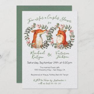 Woodland Mr. and Mrs. Fox portrait wreath Shower Invitation