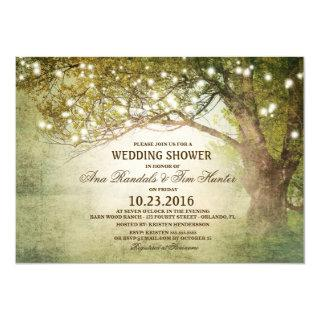 Woodland Outdoor String Lights Couples Shower Invitations