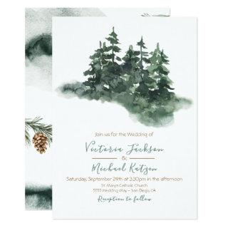 Woodland Watercolor Pine Forest Wedding Invitations
