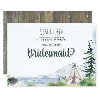 Woodsy Mountains Adventure Bridesmaid Proposal Invitations