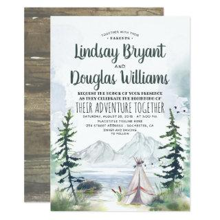 Woodsy Nature Mountains Adventure Wedding Invitation