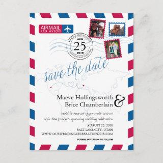 World Locations Airmail Save The Date Announcement Postcard