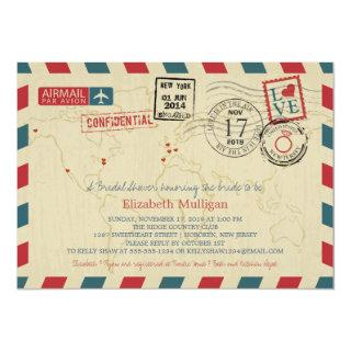 World Traveler Airmail | Bridal Shower Invitations