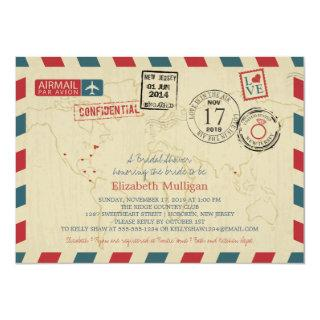 World Traveler Airmail | Bridal Shower Invitation