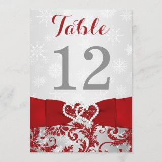Wrapped in Love Joined Hearts Table Number Card