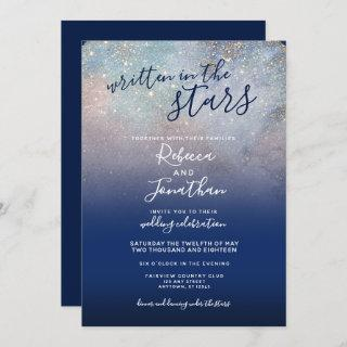 Written in the Stars Navy Galaxy Wedding Invitation