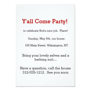 Y'all Come Party Invite