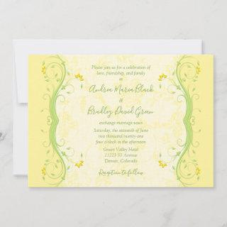 Yellow and Green Floral Wedding Invitations
