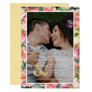 Yellow and Pink with Peach Floral Photo Wedding Invitation