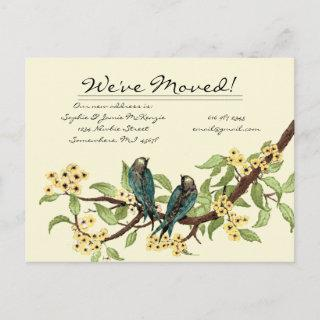 Yellow Flowers Teal Vintage Birds We Have Moved! Announcement Postcard