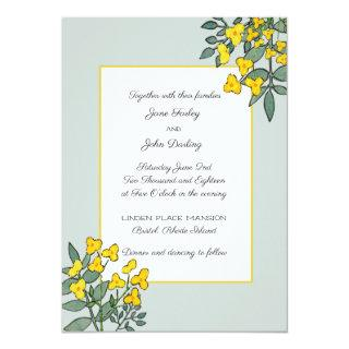 Yellow Flowers with Mint Accent Invitation