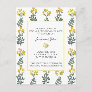 Yellow Flowers with Mint Rehearsal Invitation