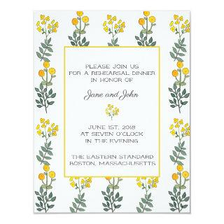 Yellow Flowers with Mint Rehearsal Invitations