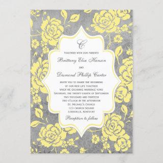 Yellow Gray White Floral Damask Wedding Invitations
