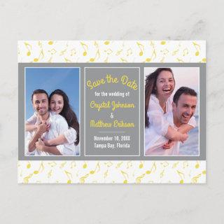 Yellow Gray White Music Notes Photo Save the Date