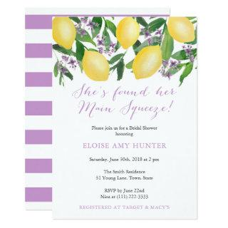 Yellow Lavender Lemons Main Squeeze Bridal Shower Invitations