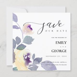 YELLOW LILAC PURPLE ROSE FLORAL SAVE THE DATE CARD