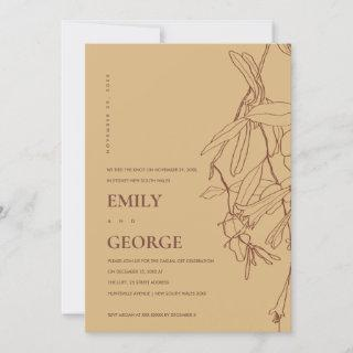 YELLOW LINE DRAWING FLORAL WE TIED THE KNOT INVITE