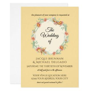 Yellow n Mint Butterfly Floral Wreath Wedding Invitation