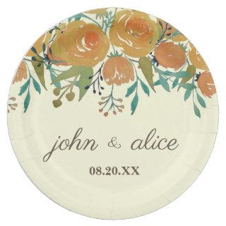 Yellow, Orange Peonies and Roses Wedding Paper Plate