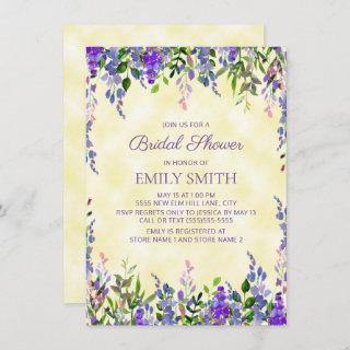 Yellow Purple Watercolor Floral Bridal Shower Invitation