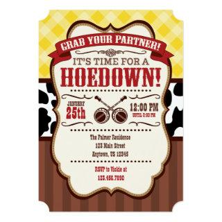 Yellow Red Brown Hoedown Party Invitations