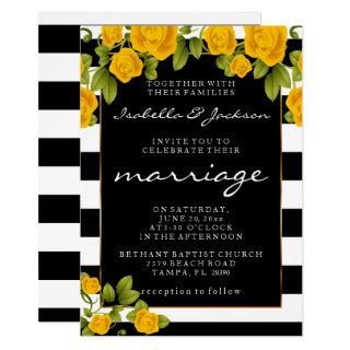 Yellow Roses on Black and White Stripes Invitations