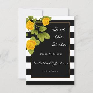 Yellow Roses on Black and White Stripes Save The Date