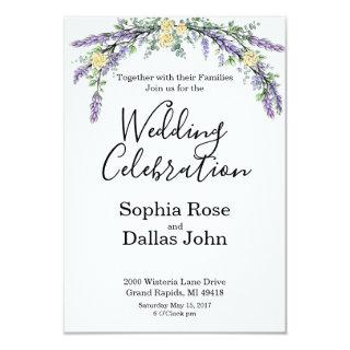 Yellow roses with Lavender and Eucalyptus Invitations