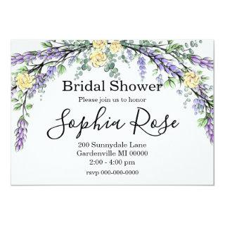Yellow roses with Lavender and Eucalyptus Invitation