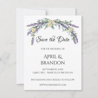 yellow roses with Lavender and Eucalyptus Save The Date