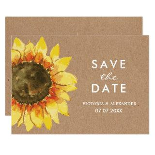 Yellow Rustic sunflower. Postcard save the date