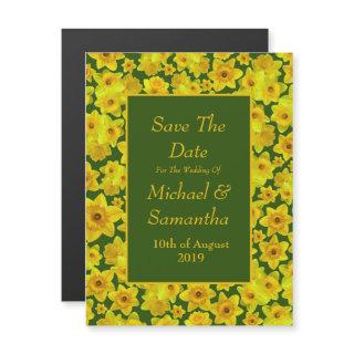 Yellow Spring Daffodil - Wedding Save The Date Magnetic Invitations