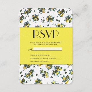 Yellow Spring Flowers on White and Yellow Paper RSVP Card