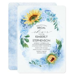 Yellow Sunflower and Blue Hydrangea Bridal Shower Invitations