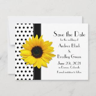 Yellow Sunflower Black Polka Dots Save the Date
