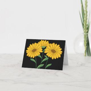 Yellow Sunflower Blank Floral Black Note Card