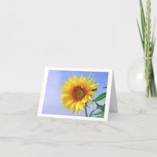 Yellow Sunflower Floral Blank Note Card