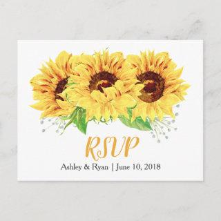 Yellow Sunflower Floral Wedding RSVP Postcard