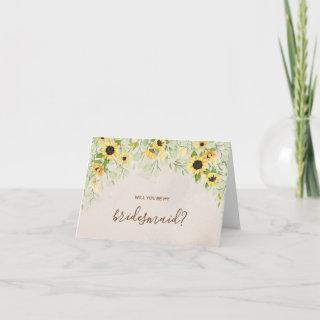 Yellow Sunflower Watercolor Be My Bridesmaid Card
