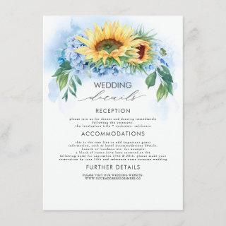 Yellow Sunflowers and Dusty Blue Wedding Details Enclosure Card