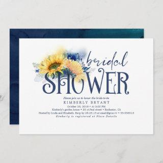 Yellow Sunflowers Elegant Navy Blue Bridal Shower Invitations