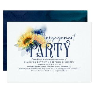 Yellow Sunflowers Navy Blue Engagement Party Invitations